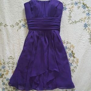 Women's Purple Strapless midi dress