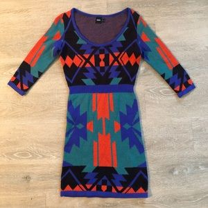 Knitted print dress