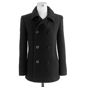 J Crew Black Double Breast Wool Thinsilate Peacoat