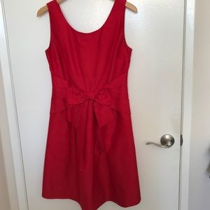 Kate Spade Red Raw Silk Dress with Front Bow