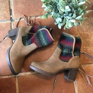 JustFab Tribal Wrap Around Boots size 8
