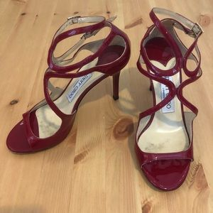 Jimmy Choo Burgundy Double Strap Heels, Size 35
