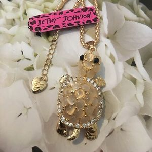 Betsey Johnson Opal & Rhinestone Turtle Necklace
