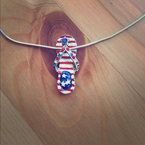 Patriotic flip flop necklace