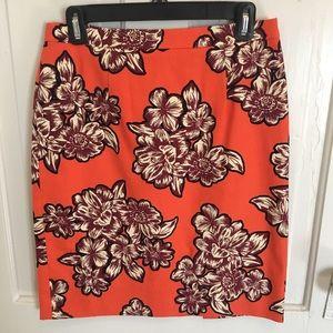 Anthropologie orange print skirt - never worn!