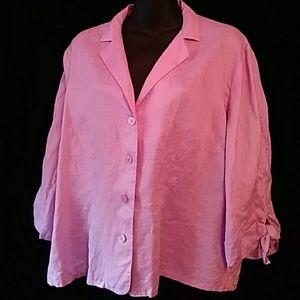 Rena Rowan linen blouse w 3/4 sleeves - sz 14