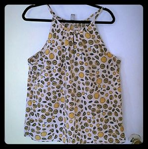 XL Banana Republic lemon print lemon halter