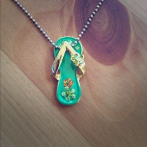 Flowered flip flop necklace