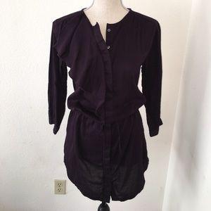 Soft ruffle button front tie waist shirt dress