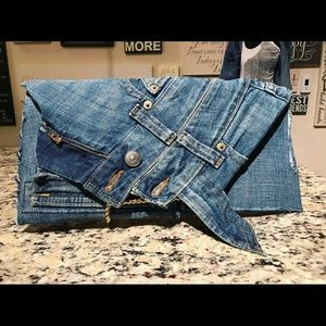 Denim clutch purse