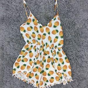 Pineapple Pom Pom Romper playsuit 8 Small Trendy