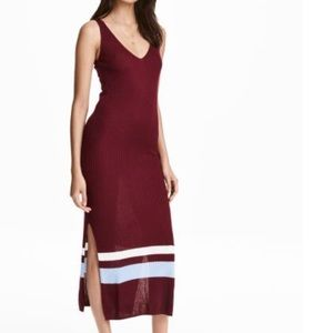 NWOT H&M Maroon Striped Ribbed Dress Size XS