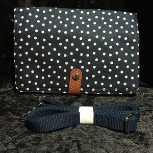 """Double Up Crossbody"" Clutch - Navy Dancing Dot"