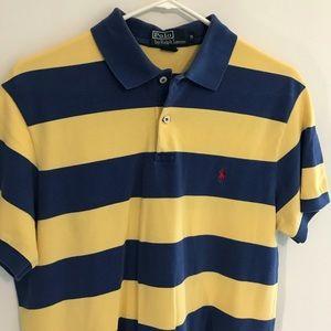 Men's Ralph Lauren Blue Yellow Striped Polo Shirt