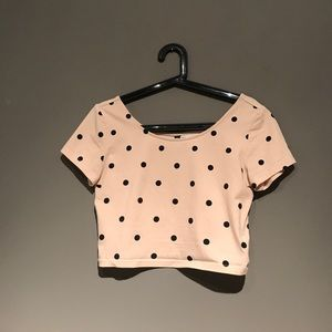 Cute rose pink/black polka dot crop top