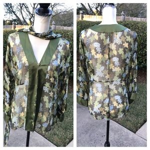 LOVELY WORTH green shear floral blouse