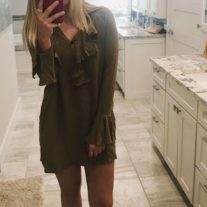 Free People Olive Green Button Up Dress