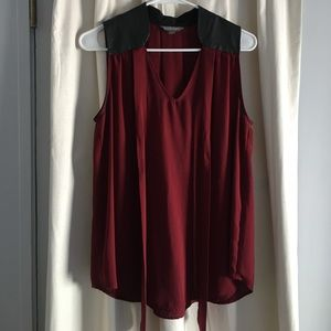 Burgundy blouse with leather collar!