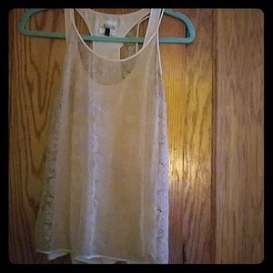 2 piece beige lace top Rozae size 10