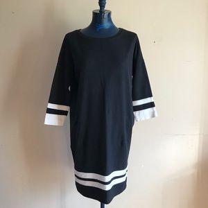Vince Varsity Stripe Oversized T-Shirt Midi Dress