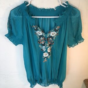 Teal Embroidered Chiffon Top Sz S