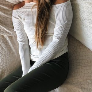 White open shoulder long sleeve shirt