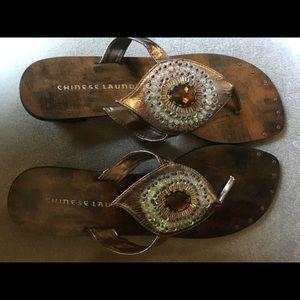 Beautiful beaded peacock sandals- 8.5