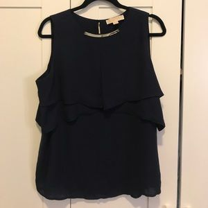 Michael Kors Sleeveless Blouse with Silver Detail