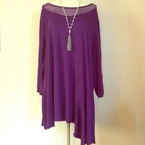 NEW Avenue Purple Sheer Neck Tunic Top Plus 26/28