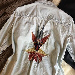 Boho denim top - light wash and embroidered