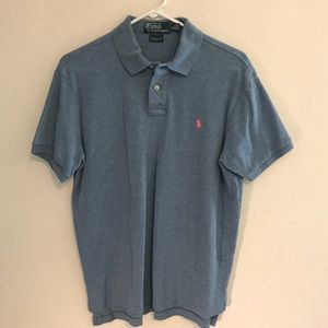 Men's Ralph Lauren Custom Fit Blue Polo Shirt Med