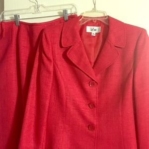 Red skirt and jacket set