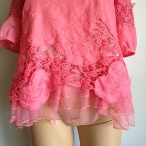 Vintage Embroidery Lace Pink Blouse Top XS Small