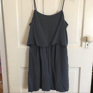 Madewell slate blue layered silk dress