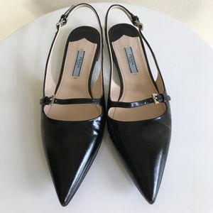 Prada black patent leather slingback flats size 36