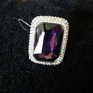 Large Purple Stone with clear bling ring