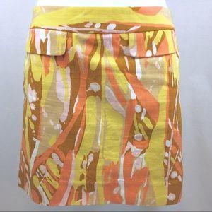 J. CREW PRINT Pencil Skirt Yellow Tan Peach Size 2