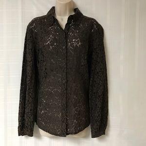 Michael Kors Brown Lace Pattern Top Size 1x