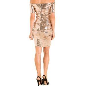 Nicole Miller off the shoulder sequin dress