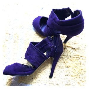 Purple faux suede heels