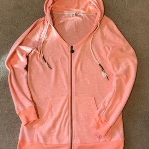Roxy light zip jersey. Coral color. Sz XL