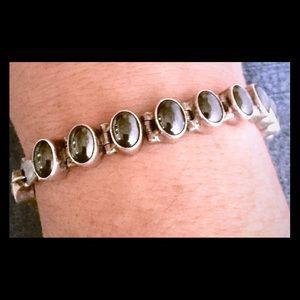 Vintage Acleoni Hematite Sterling Silver Bracelet