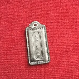 Coach leather silver metallic hang tag, no chain