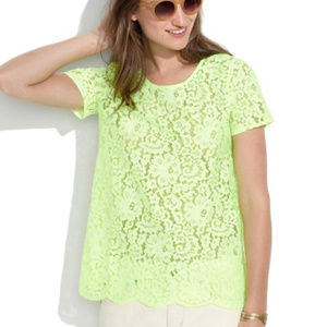 Madewell Neon Yellow Lace Top XS