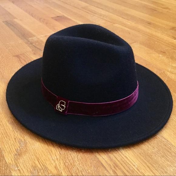 Karl Lagerfeld Accessories - KARL LAGERFELD WOOL FEDORA HAT WITH VELVET  RIBBON 04066cd7f18