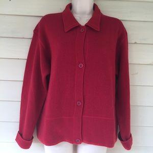 J CREW Lambswool bl cardigan sweater/earthy red