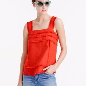 J. Crew Red Linen tank top with fringe Size 2