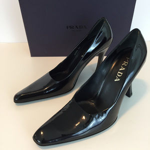"PRADA Black Patent Leather Pumps 4.5"" Heel"