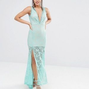 Asos Lace Maxi Plunge Dress