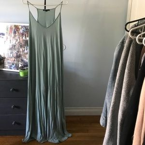 Mint maxi dress with V neck and racer back
